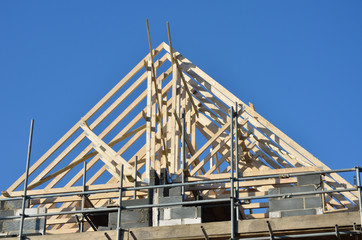 wooden apex roof under construction