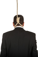 Businessman with aq noose around his neck