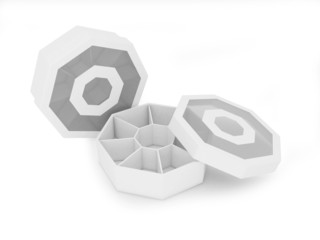 Octagon paper and plastic package with clipping path