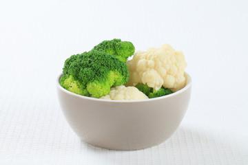 Boiled cauliflower and broccoli