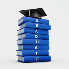 Mortar board on stack of blue  graduate book isolated on white w