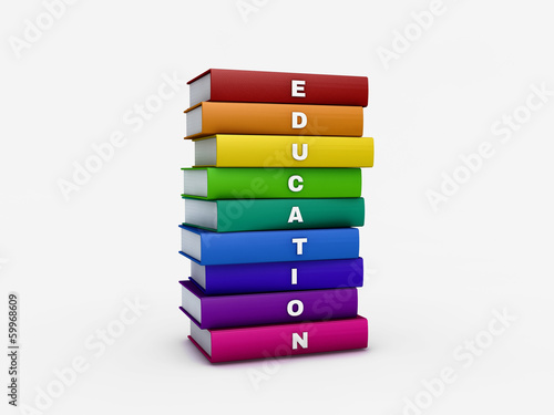 Stack of rainbow education book isolated on white with clipping