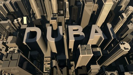 animation from the city name Dubai with building