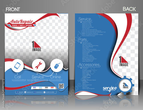Automobile Center Flyer, Magazine Cover & Poster Template