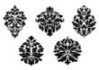 Floral and foliate damask design elements