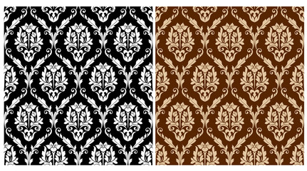 Two floral seamless arabesque patterns