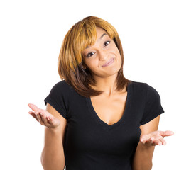 Shrugging woman in doubt doing shrug showing open palms