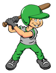 Vector cartoon of a boy about to swing a bat