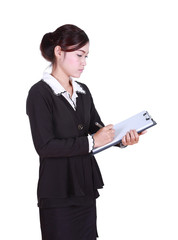 business woman write information on clipboard isolated on white