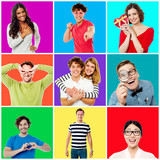 Collection of cheerful youngsters poster