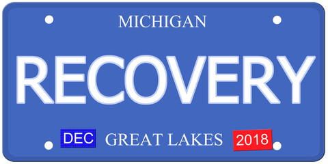Recovery Imitation Michigain License Plate