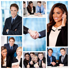 Group of business people, collage.