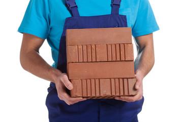 Builder with bricks