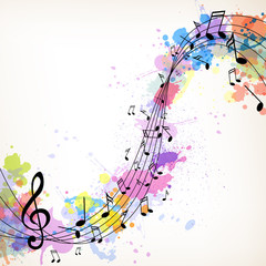Vector Illustration of an Abstract Music Background with Notes © Ramona Kaulitzki