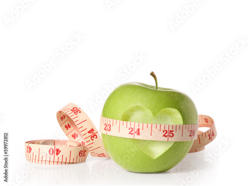 Green apples measured the meter on  white