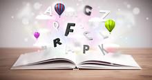 Ouvrir le livre avec le vol lettres 3d sur fond de béton