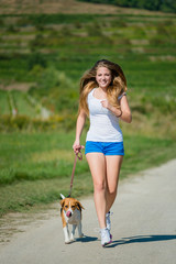 Jogging with animal friend