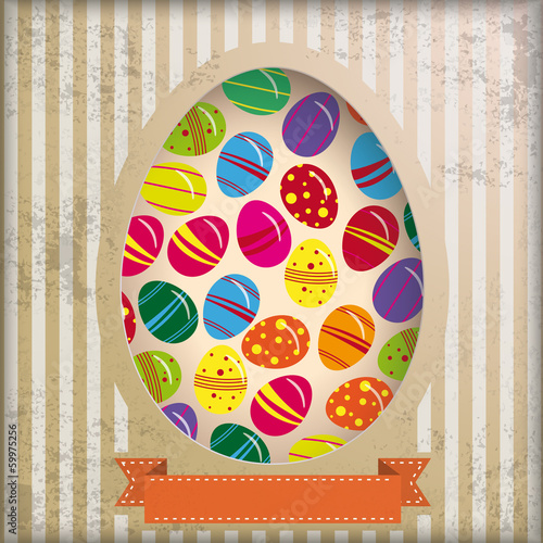 Vintage Background Eggs in Hole Stripes