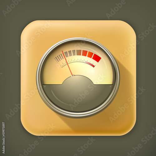 Audio Gauge, long shadow vector icon
