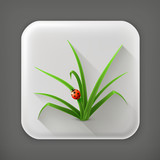Ladybug and grass, long shadow vector icon