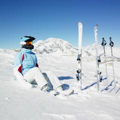 woman skier, Alps Mountains, Savoie, France