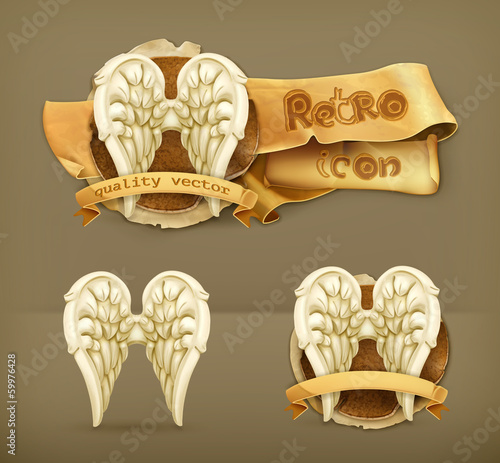 Angel wings, vector icon