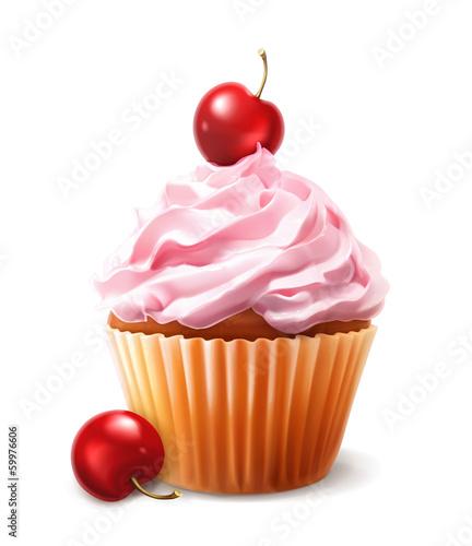 Cherry cupcake, vector - 59976606