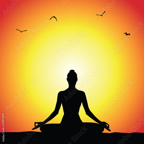 Sunset yoga poster