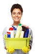 Beautiful  brunette woman holding different cleaning stuff