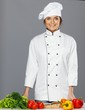 Beautiful young woman cook with fresh vegetables