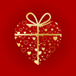 VALENTINE'S HEART-SHAPED GIFT (day love gold ribbon present)