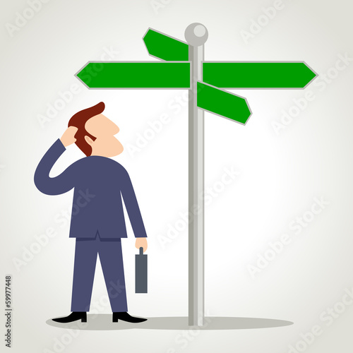 Simple cartoon of a man figure looking at road sign