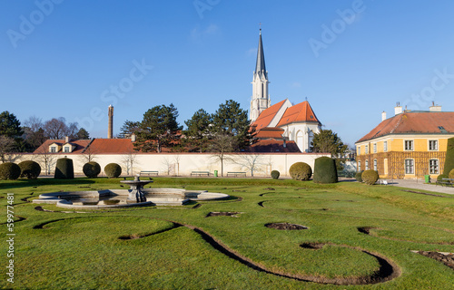 Maria Geburt church view from Schonbrunn Gardens, Vienna