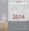 2014 calendar, monthly calendar template for December. Vector il