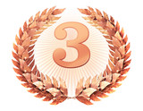 Number three in the bronze laurel wreath