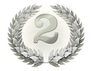 Silver laurel wreath with number two