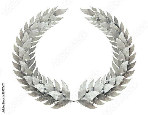 Round silver wreath of laurel leaves