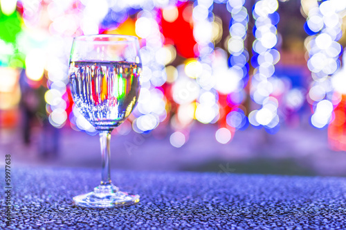 Glass with bokeh background
