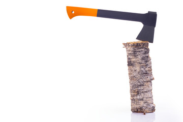 Axe and log isolated