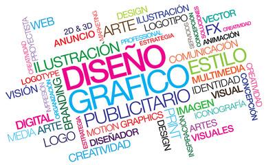 Diseño grafico publicitario nube de etiquetas ilustración