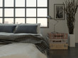 Bedroom interior with king-size bed against huge window