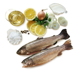 Trout with ingredients for cooking