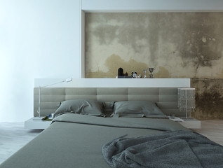 Bedroom interior with king-size bed and old concrete wall