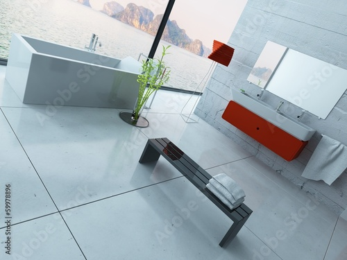 Modern red bathroom interior