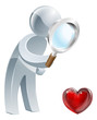 Heart magnifying glass man
