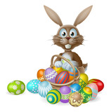 Fototapety Easter bunny with eggs basket