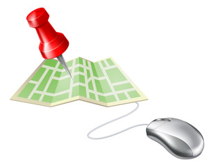 Map pin computer mouse