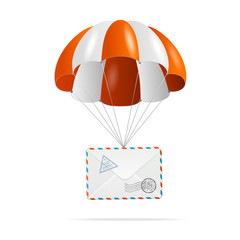 Mail delivery. Parachute.