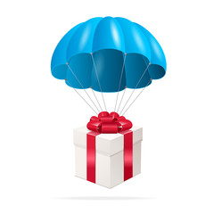 Blue Parachute with a gift box