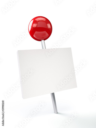 Red Pushpin with Blank Card